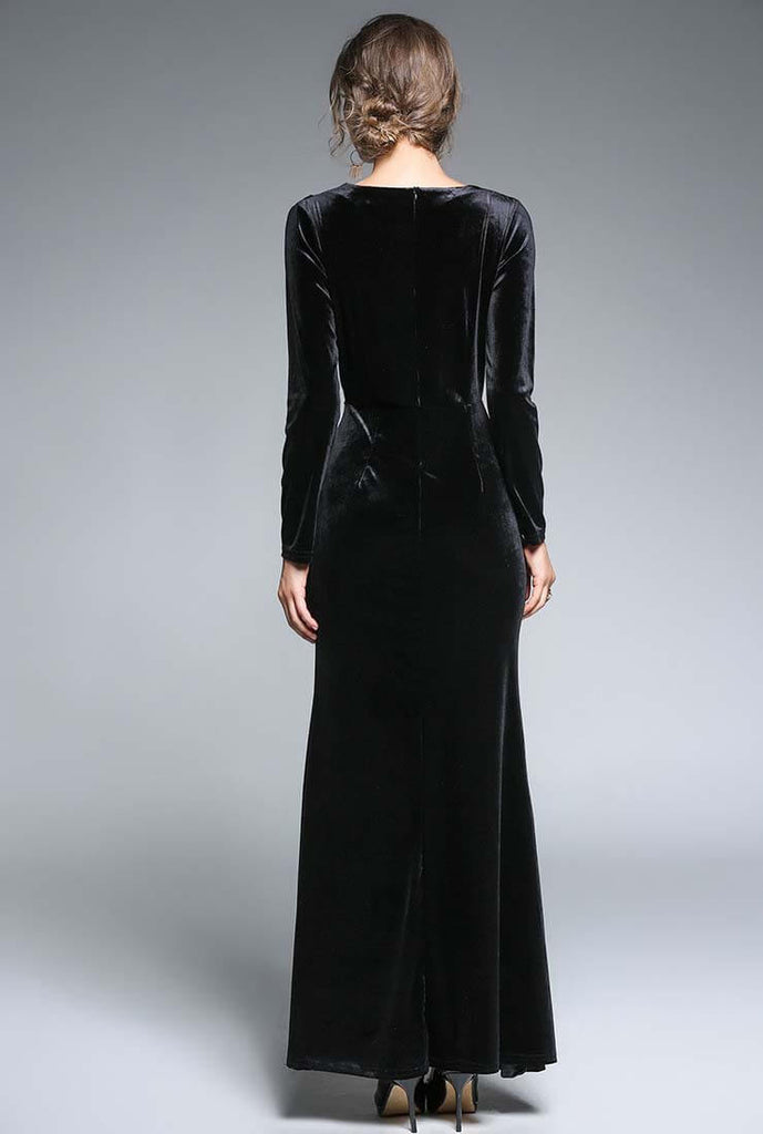 Elegant Split Velvet Ruched Maxi Dress