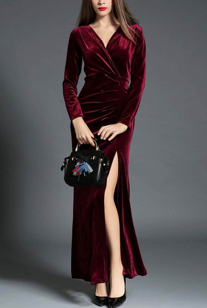 Elegant Side Slit Ruched Velvet Wrap Maxi Dress