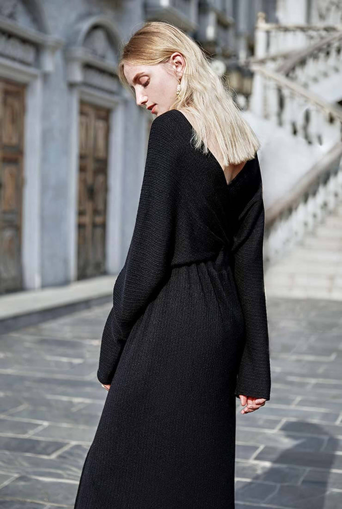 Elegant V-neck Split Sweater Midi Dress