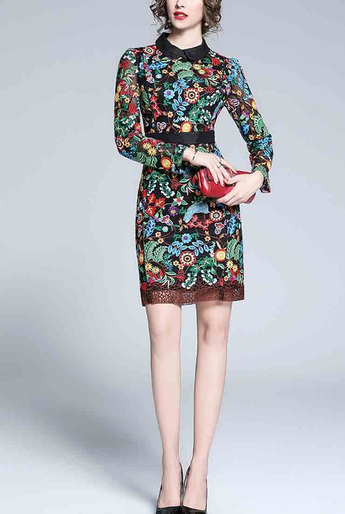 Embroidered Lapel Bodycon Mini Dress