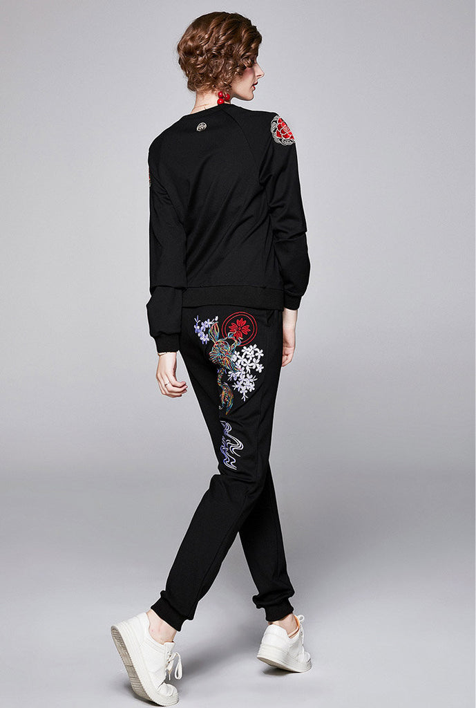 Embroidered Long Sleeve T-Shirt & Slim-Fit Joggers Suits