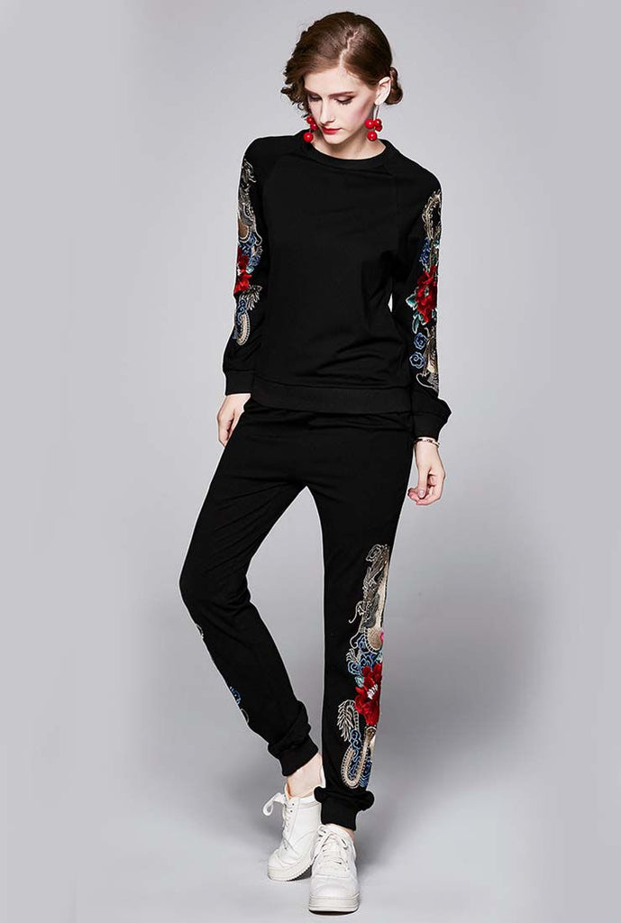 Embroidered Long Sleeve Top & Joggers Suits