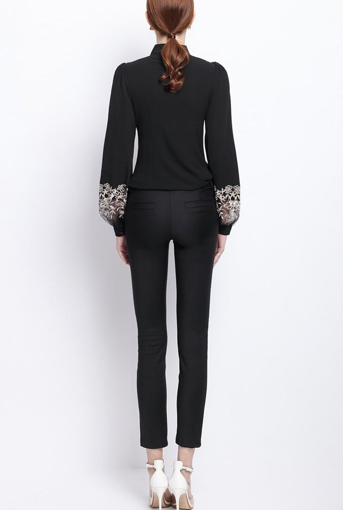 Embroidered Mesh Long Sleeve Shirt