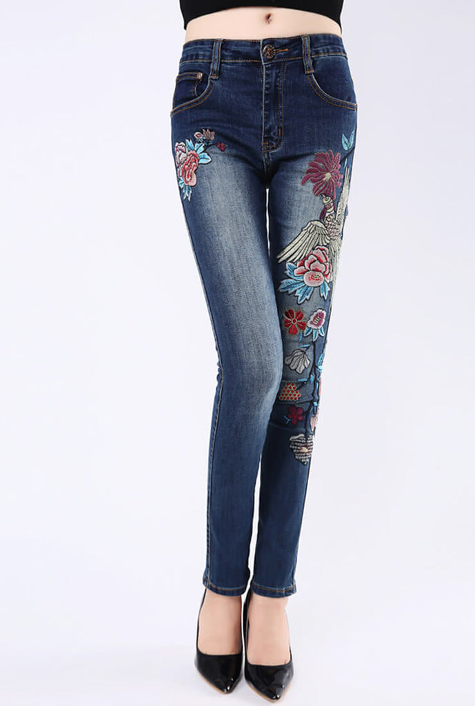 Embroidered Stretch-slim Skinny Jeans