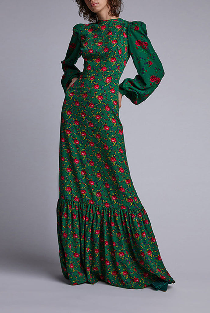 Fashion Green Print Long Sleeve Maxi Dress