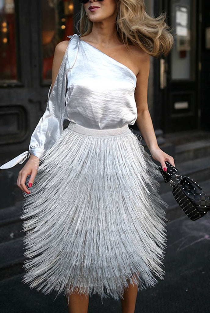 Fashion Silver Tassel Skirt