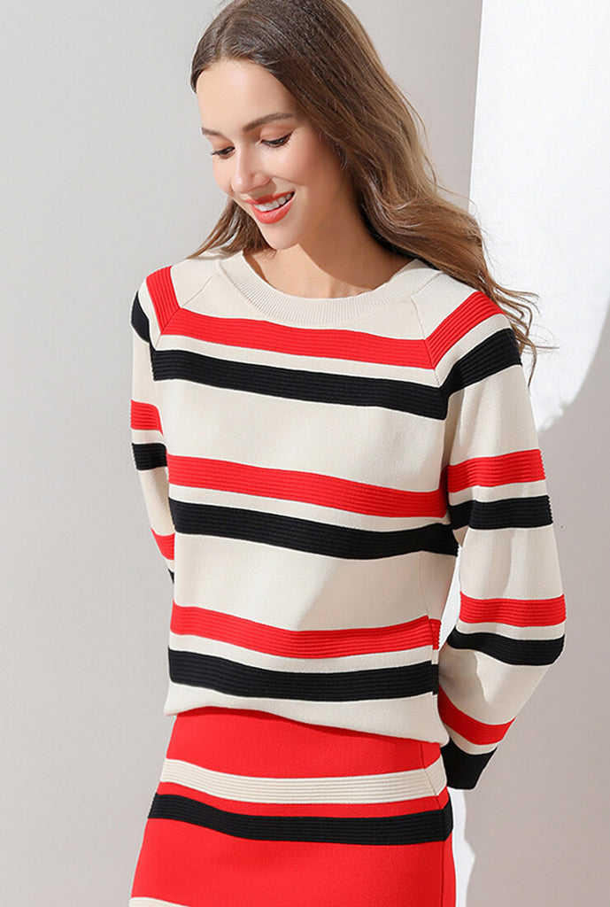 Fashion Striped Sweater Suit