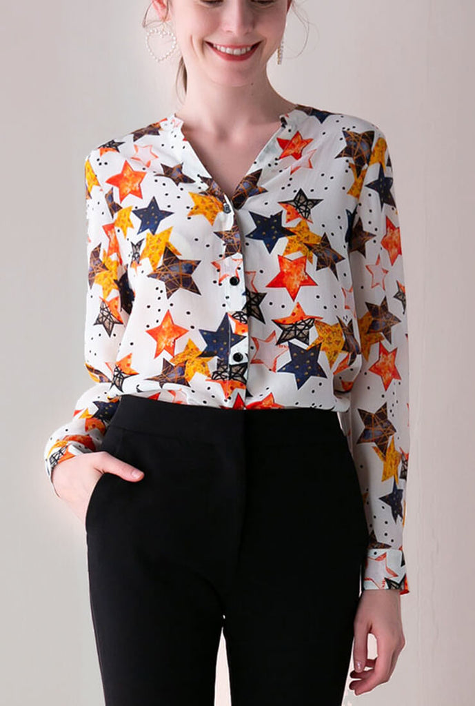 Fashion V-Neck Print Star Blouse