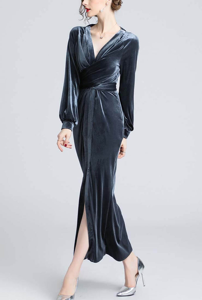 Fashion V-neck Velvet Maxi Dress