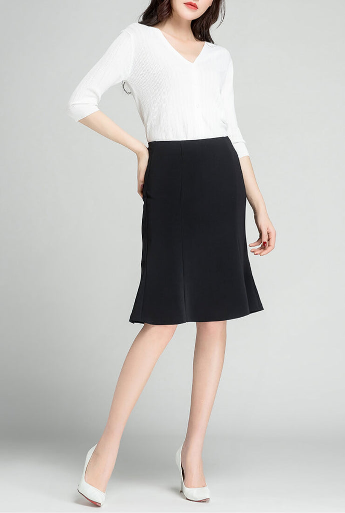 Fishtail Solid Color Sheath Skirt