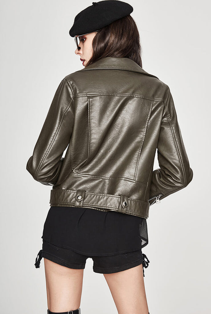 Five-color Classic Short  Leather Jacket