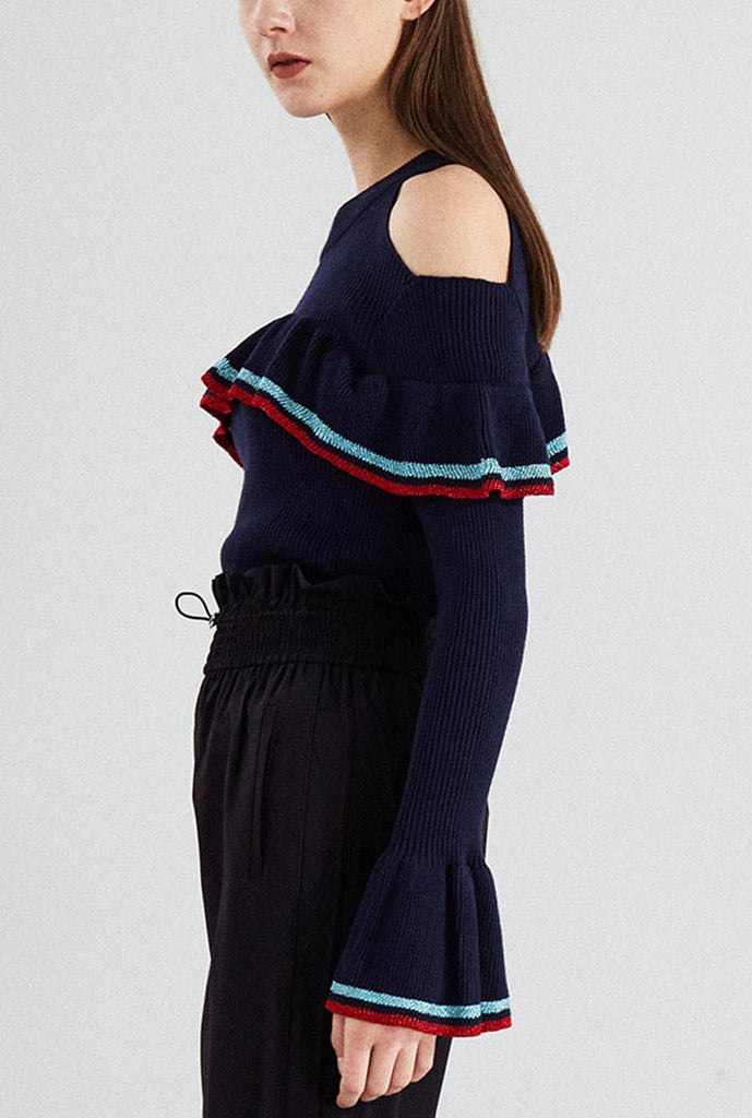 Flare Sleeves Off The Shoulder Knitted Pullover Blouse