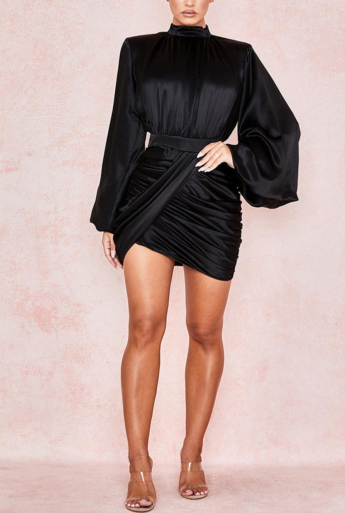 Flared Sleeves Black Tight Mini Dress