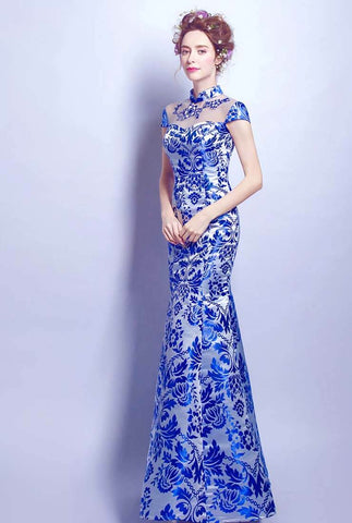 Floral Embroidery Stand Collar Evening Dress