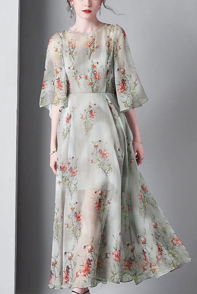Floral Print Flare Sleeve Silk Maxi Dress