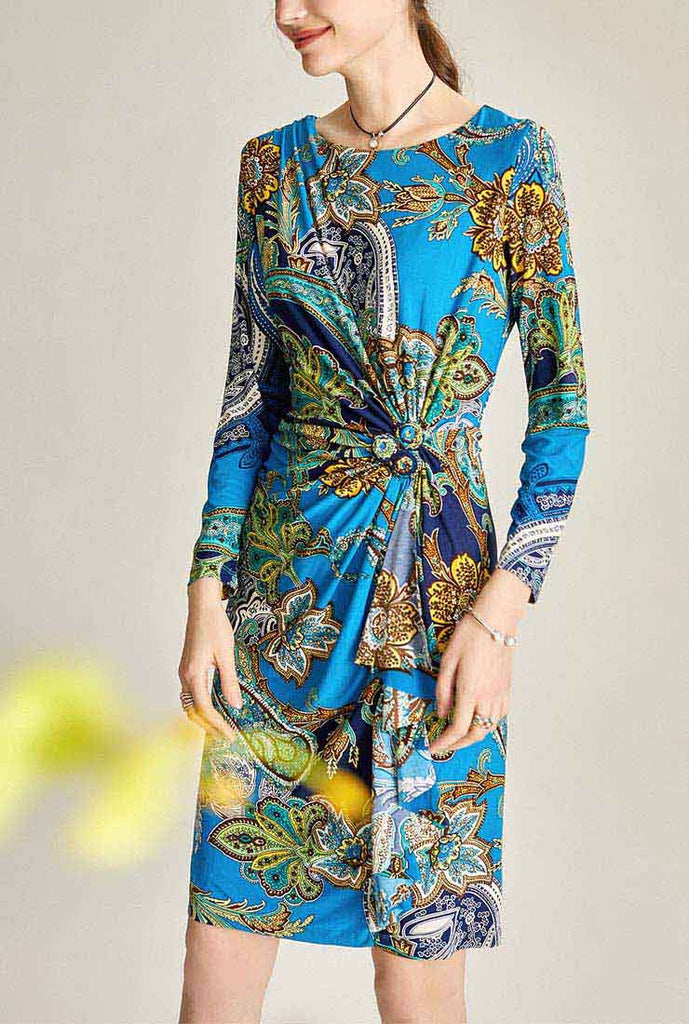 Floral Print Long Sleeves Midi Warp Dress