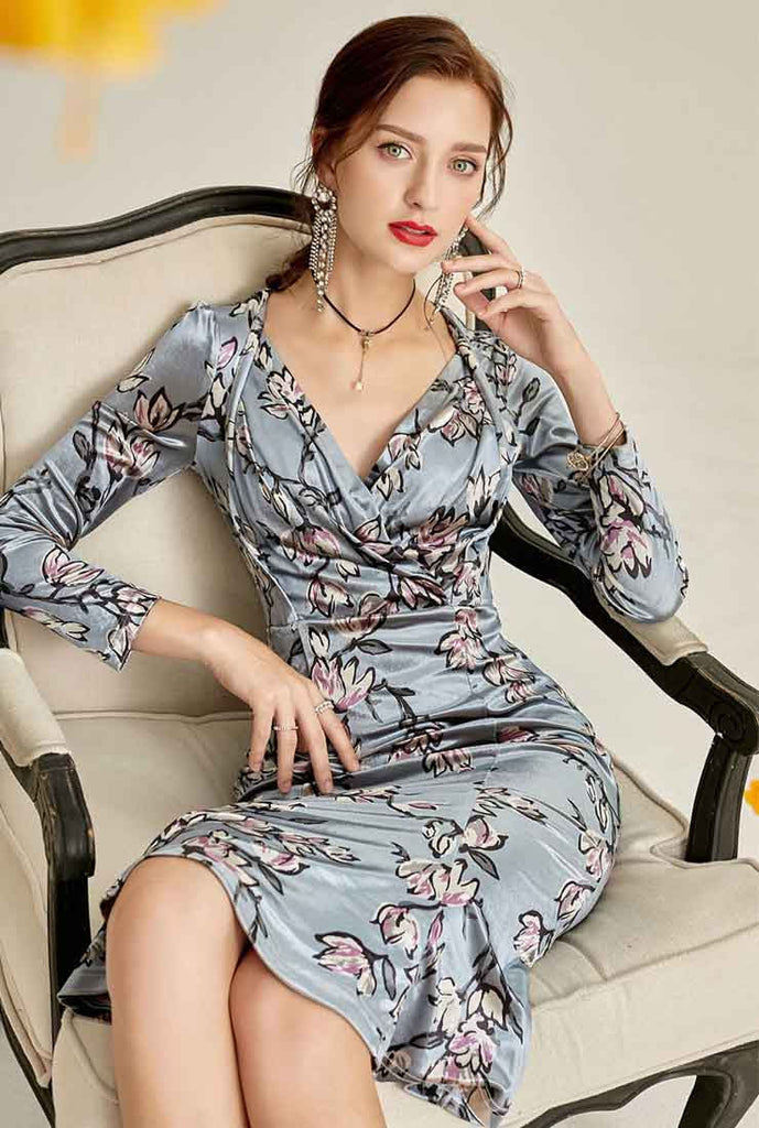 Floral Print V-neck Velvet Fishtail Midi Dress