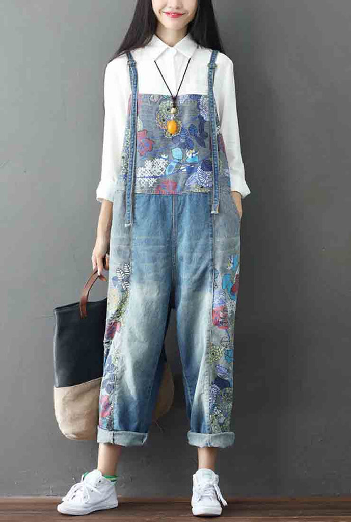 Floral Printed Cotton Overalls
