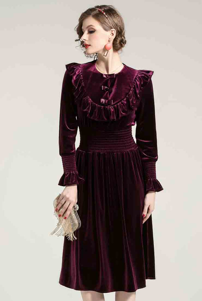 Flounce Round Collar Velvet Midi Dress