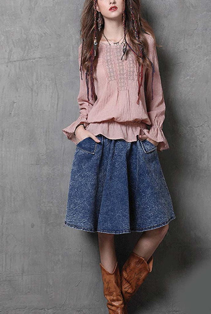 Flounce Round Neck Embroidered Loose Blouse