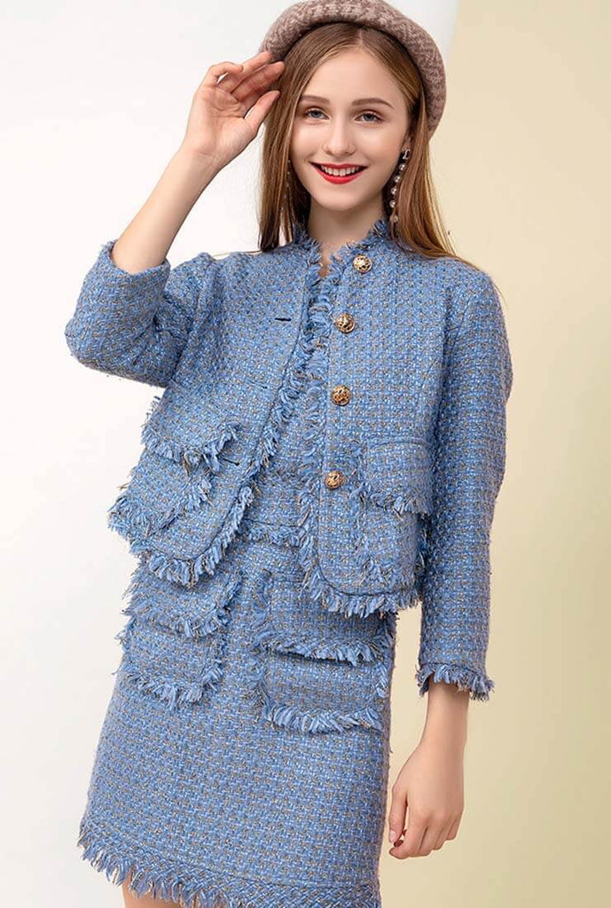 Fringe Trim Blue Tweed Jacket + Midi Dress Two Piece Set