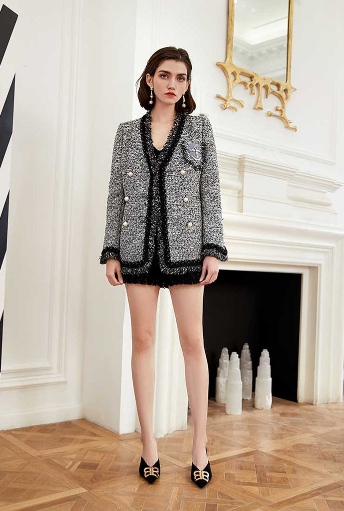 Fringe Trim V-neck Double-Breasted Tweed Jacket