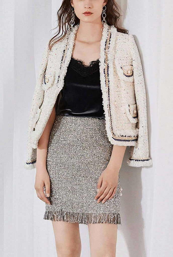 Fringe Trim Woolen Tweed Jacket