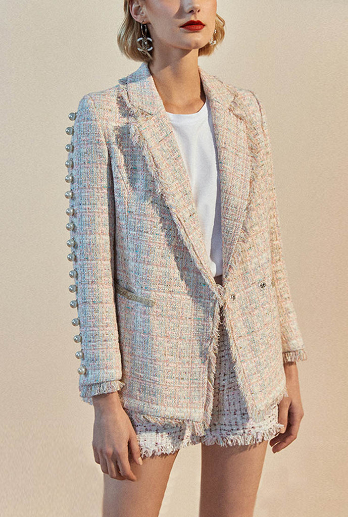 Fringed Pearl Decoration Tweed Blazer