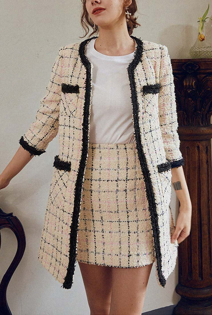Front Pockets Mid-length Tweed Coat