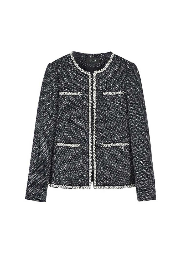 Front Pockets Round-Neck Short Tweed Jacket