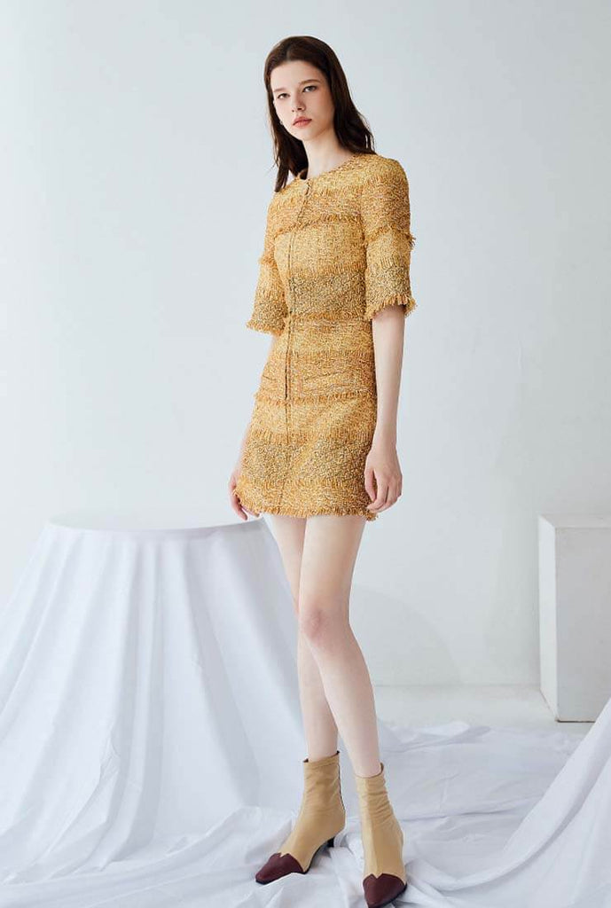 Gold Bright Silk A-line Cropped Sleeve Mini Dress