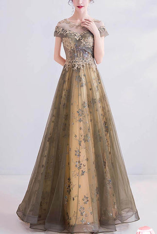Gold Mesh Sequined Off Shoulder Prom Dresses