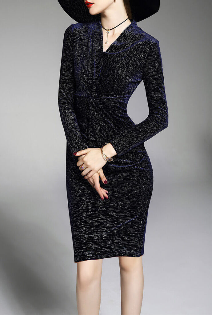 Gold Velvet Slim Retro Long Sleeve Blue Dress
