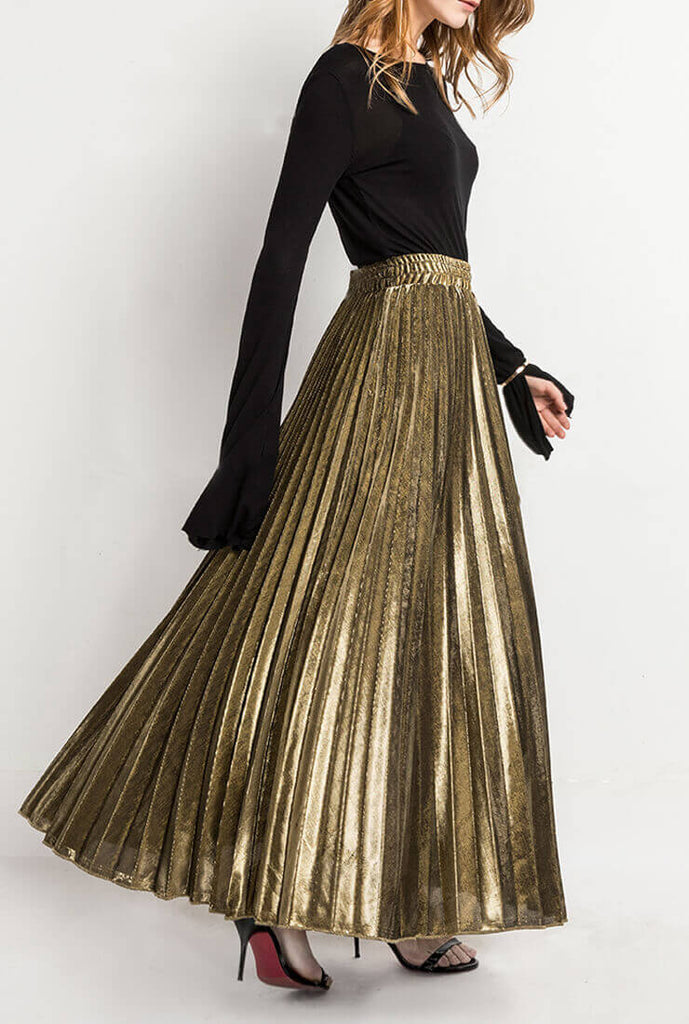 Golden Pleated High Waist Skirt