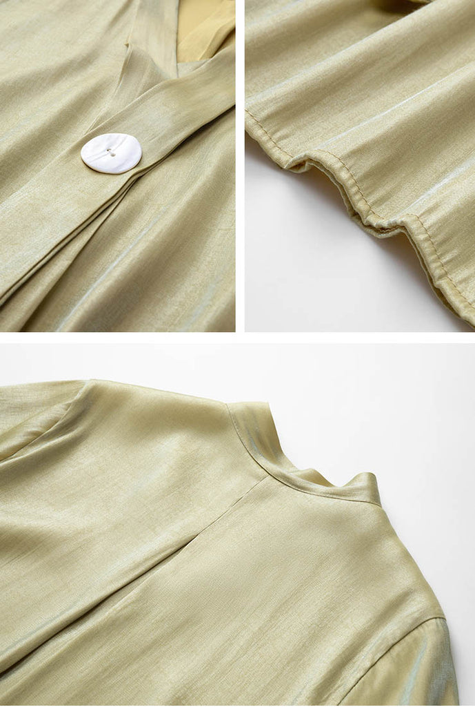Green V-neck Satin Short Sleeve Blouses