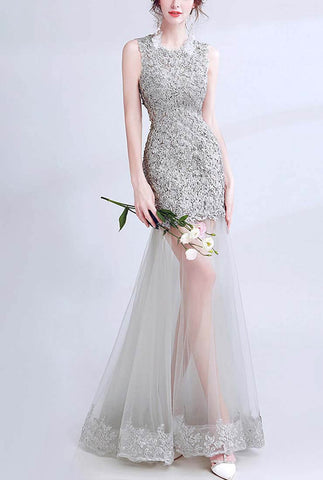 Grey Fishtail Embroidery Evening Prom Dress