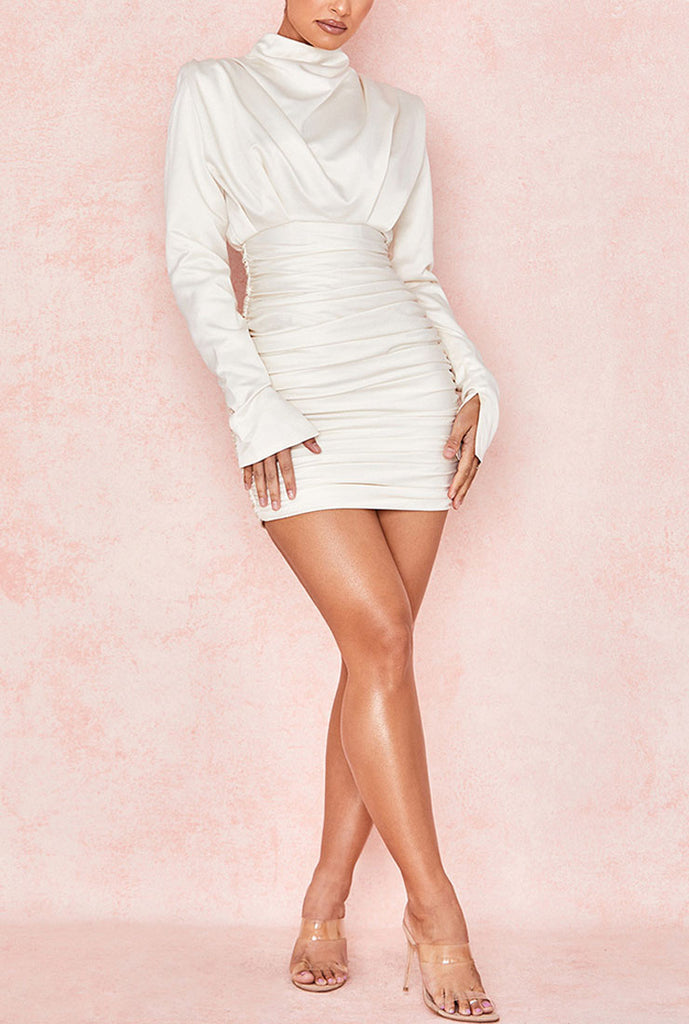 Half-high Collar Pleated Mini Bodycon Dress