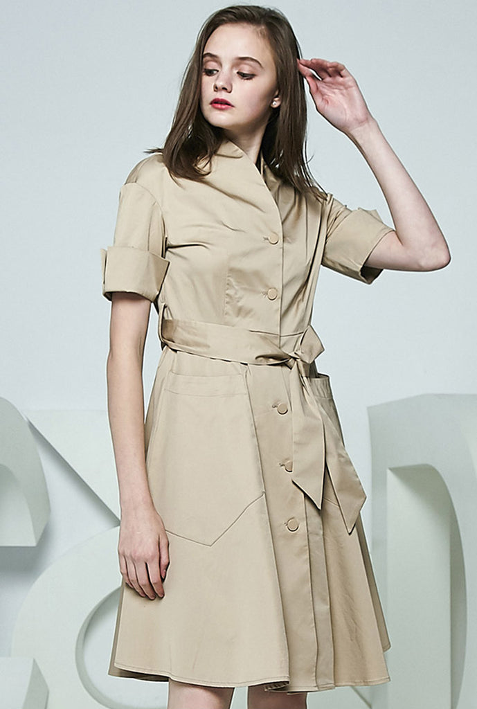 Half Sleeves A-line Midi Shirt Dress With Removable Belt