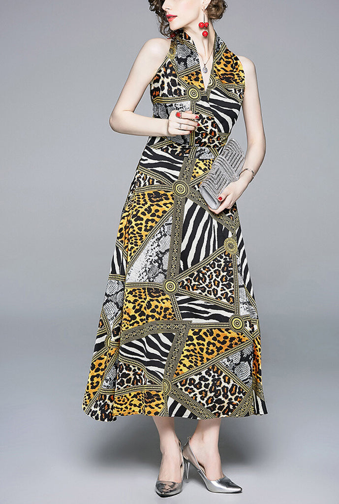 Halter V-neck Yellow Leopard Maxi Dress
