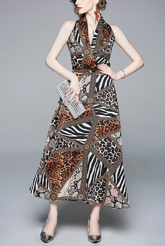 Halter V-neck Brown Leopard Maxi Dress