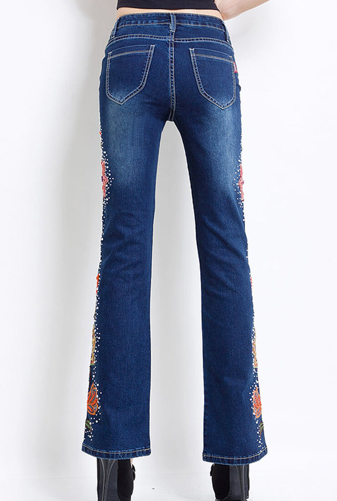 Handmade Beaded Embroidery Flared Jeans
