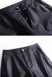 High-waist PU Leather Short Wide Pants