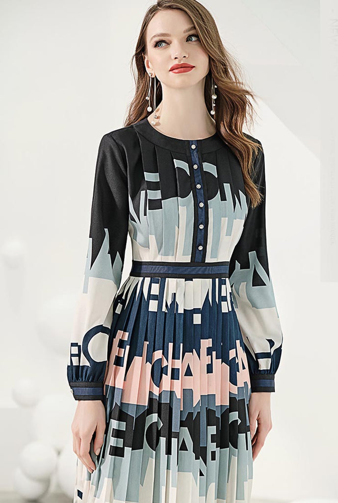 High-waist Silk Letter Print Pleated Midi Dress