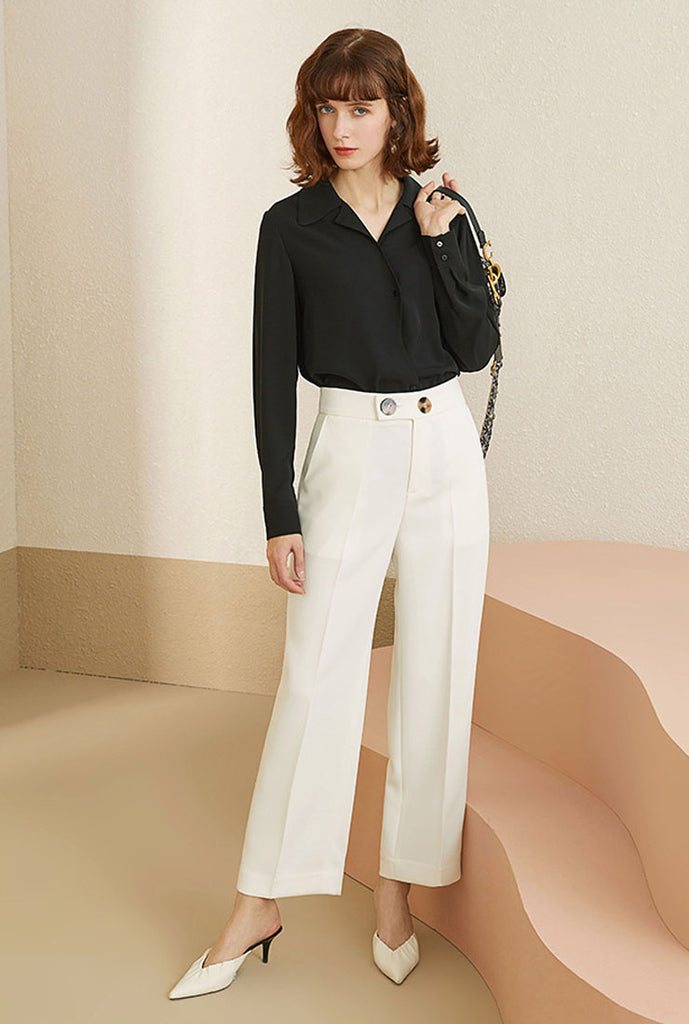 High-waist Straight Loose Cropped Suit Pants