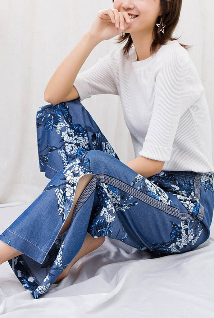 High-waisted Silk Printed Thin Wide Jeans