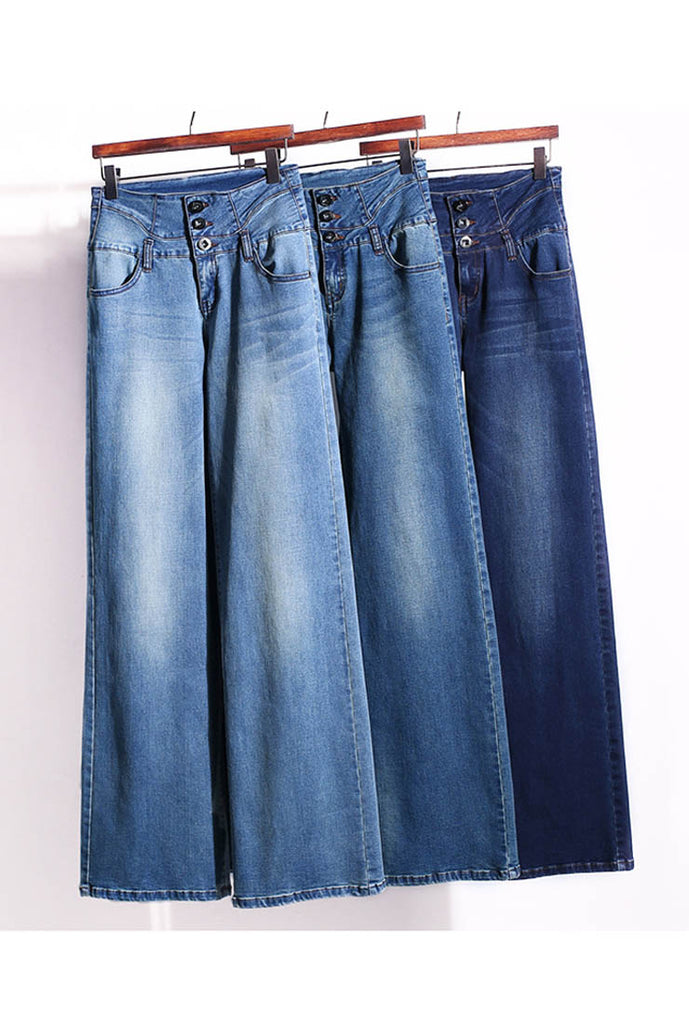 High Waise Slim Wide Long Jeans