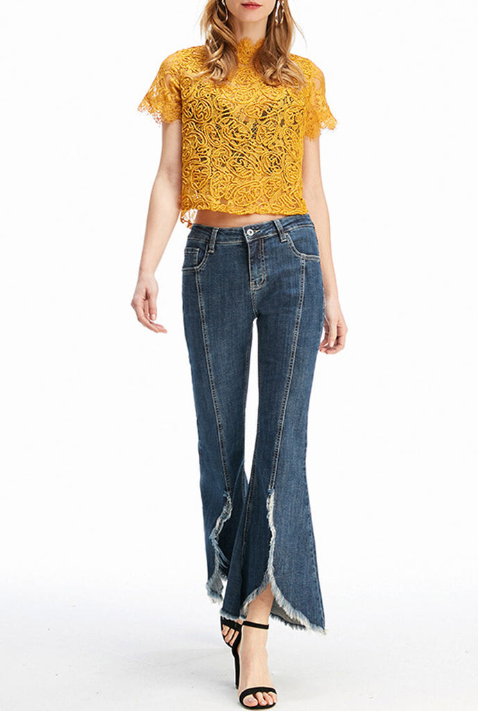 High Waist Denim Flared Pants
