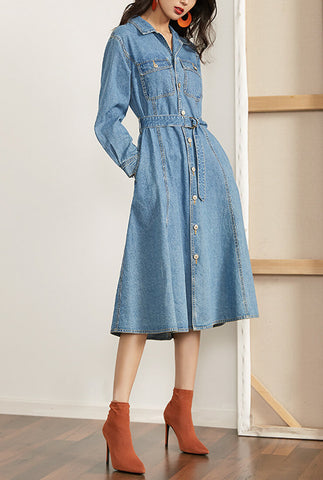 High Waist Denim Shirt Long Dress