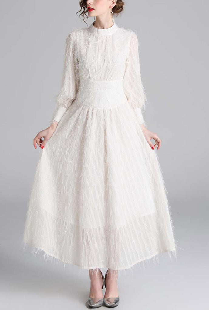 High Waist Fringe Chiffon Long Dress