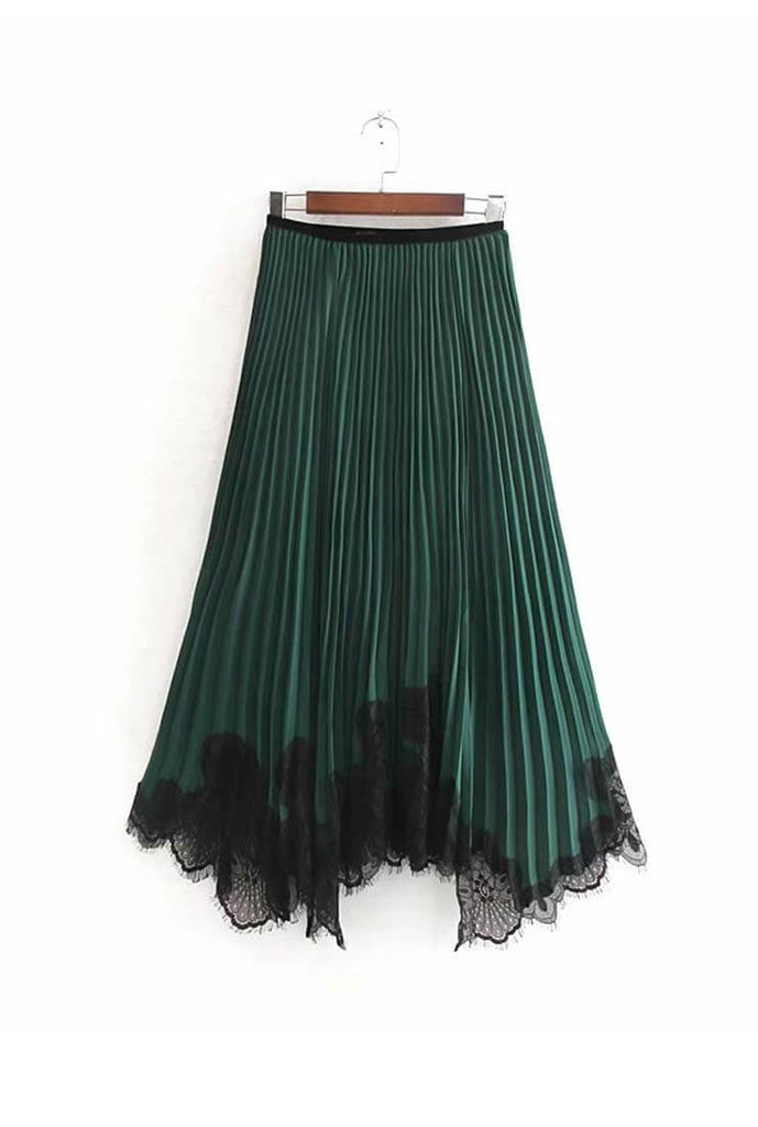 High Waist Lace Pleated Skirt